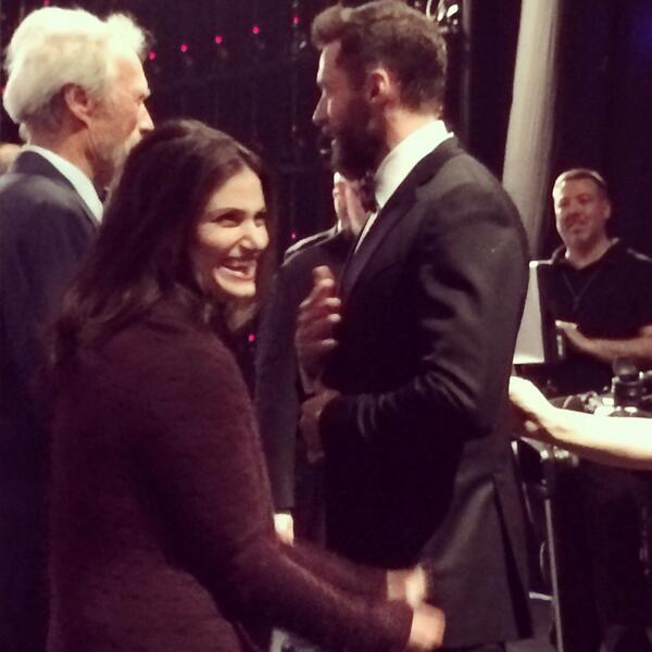 .@idinamenzel and @RealHughJackman joke around backstage right before Idina's big number from If/Then #TonyAwards http://t.co/5k4vfocnmE