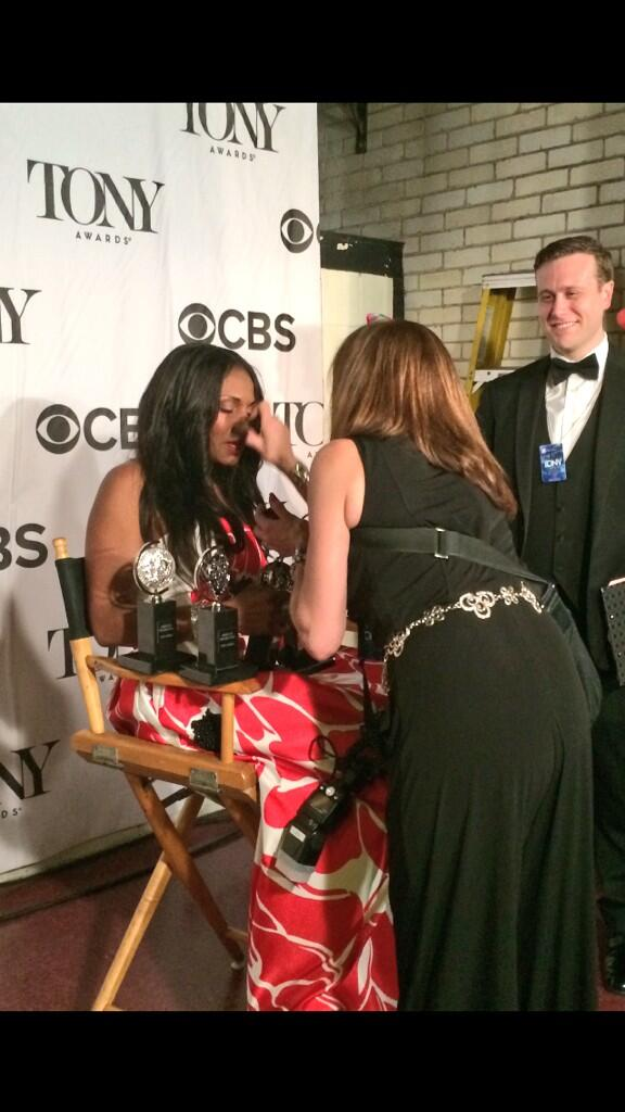 A very emotional @AudraEqualityMc takes a moment before posing for pics w/ her SIX Tonys! @TheTonyAwards #TonyAwards http://t.co/cIQLMFMv8X