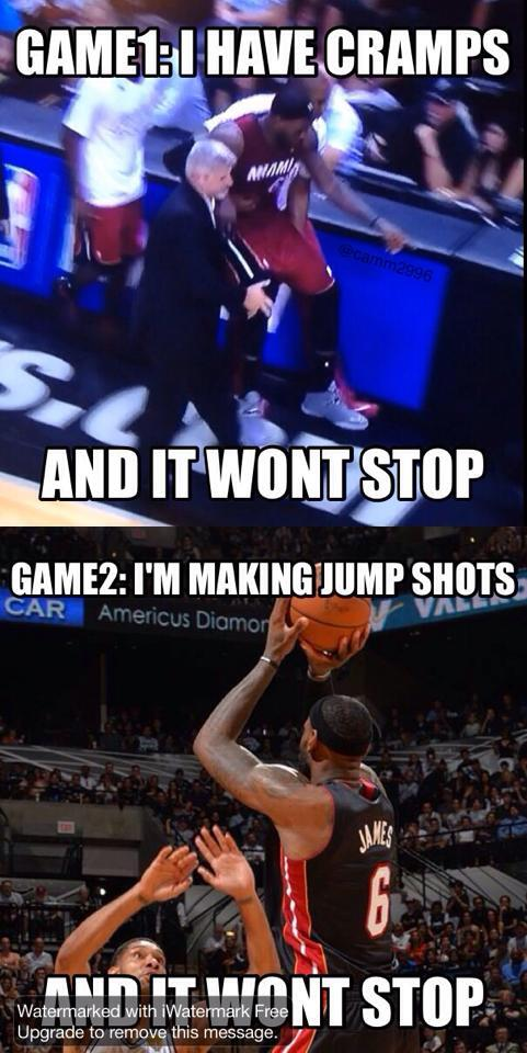 Win or lose, no stopping LeBron.  Game 1: Cramps won't stop Game 2: Shots won't stop http://t.co/yb5LIKgZCD