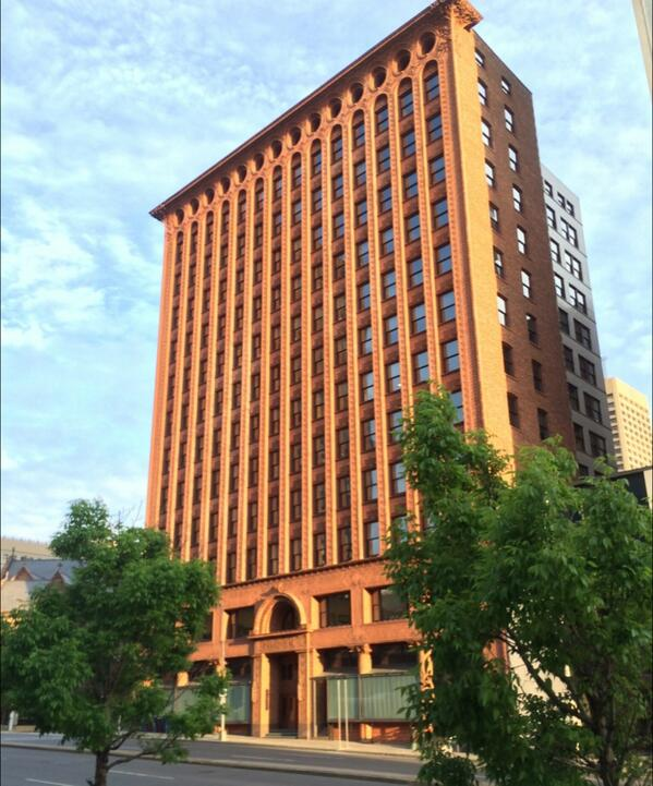 Tall building done well, highlight of Buffalo #CNU22: Sullivan's Prudential Bldg, 1896, steel frame, terra cotta. http://t.co/n54SH8r5tT