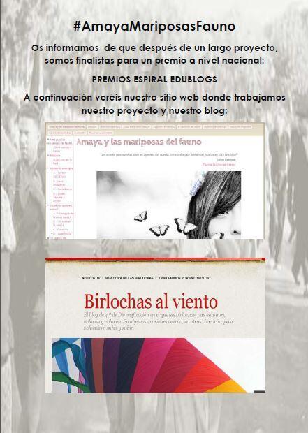 Cartel propuesto por Achraf para difundir en el insti lo de los premios Espiral Edublogs #AmayaMariposasFauno http://t.co/OnCTgsDnDO