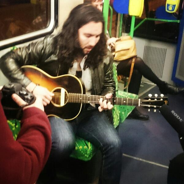 Ron Pope playing us some beautiful tunes on the 86 @RonPopeMusic #music #Melbourne #tramsessions #livemusic http://t.co/t8yHkrhAui