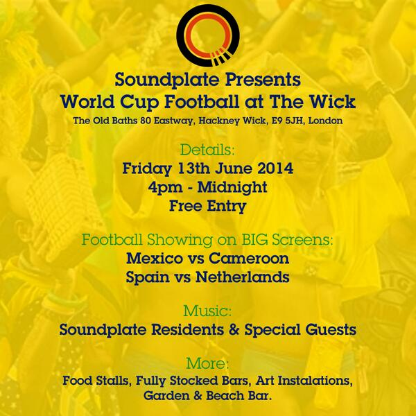 """""""@Soundplate: Come watch some footie with us? @TheWickHackney this Friday? http://t.co/qVCnC1iXYQ"""""""