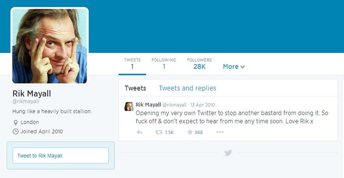 Rik Mayall ran his Twitter account like a pro. RIP. http://t.co/1ZXi22h0CG
