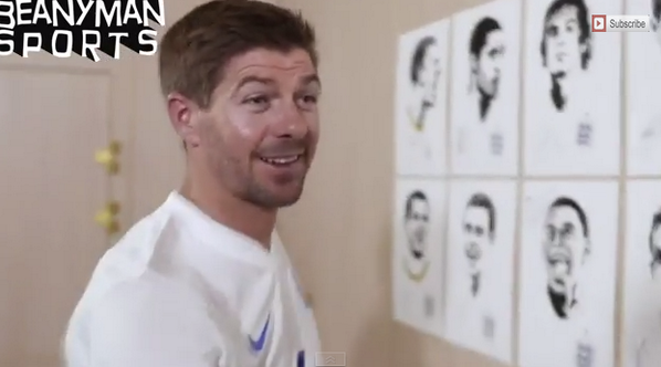 England players sign their World Cup portraits, Liverpools Steven Gerrard laughs about his big nose [Video]