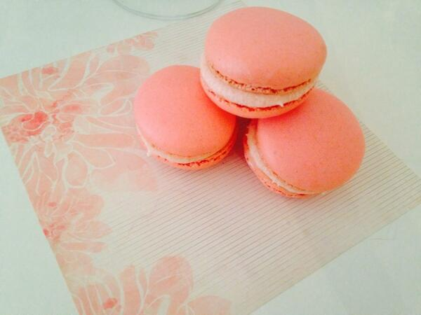 French macarons filled with strawberry buttercream...YES! #fromscratch...