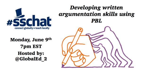 Hey #SSChat! We'll be discussing developing argumentative writing skills using PBL tonight! Get ready... http://t.co/NKTuwftzGV