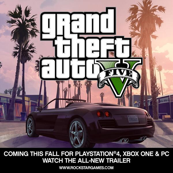 #GTAV is coming to PS4, Xbox One & PC this fall. Watch the all-new trailer at http://t.co/KEZ3WxM7Lu in 1080P. http://t.co/KGOREdJ2bJ