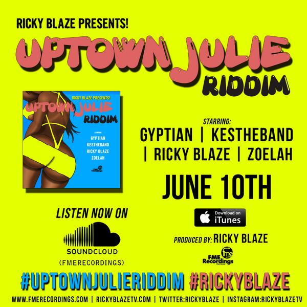 OUT NOW ON Itunes #UptownJulieRiddim #Dancehall #Soca #RickyBlaze @Kestheband @RealGyptian @ZoelahBoyde http://t.co/MbBrsngq1a
