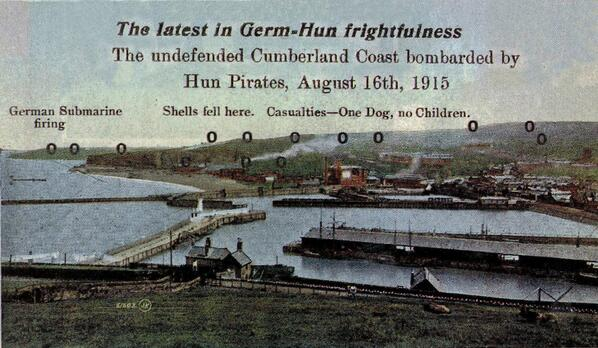 1915 attack on Cumbrian Coast marked by commemorative postcard, from Whitehaven Archives #WW1archives http://t.co/2AsulLvTyz
