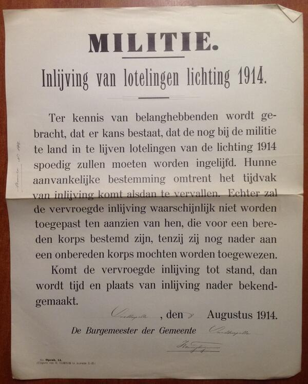#WW1archives Oostkapelle 8/8/14 De lotelingen van de lichting 1914 worden vervroegd ingelijfd bij de Militie http://t.co/0W4abJMVZn