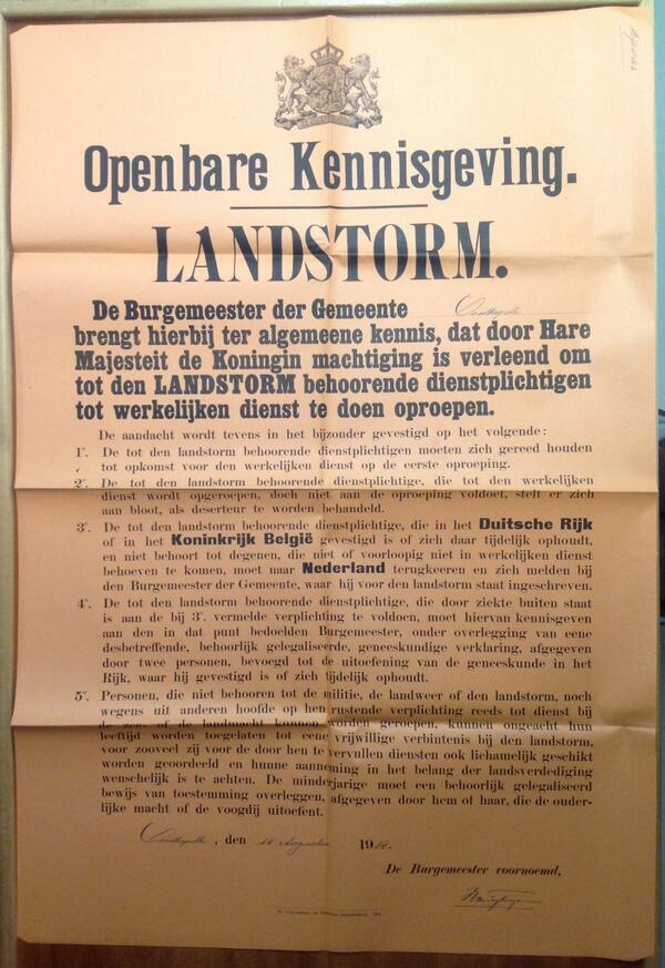 #WW1archives Oostkapelle 14/8/14 Alle dienstplichtigen die bij de Landstorm horen worden opgeroepen http://t.co/i03OvQ9kMM