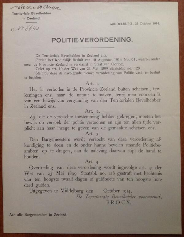 #WW1archives Oostkapelle 27/10/14 Vanwege de Staat van Oorlog komt er een nieuwe politie-verordening http://t.co/5Sq46TYeVI