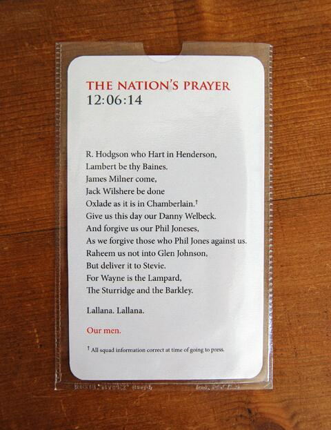 Footie fans - This is brilliant RT @asburyandasbury: The Nation's Prayer 2014. http://t.co/RIj5KKeLMk http://t.co/fqgRNUVKpn""