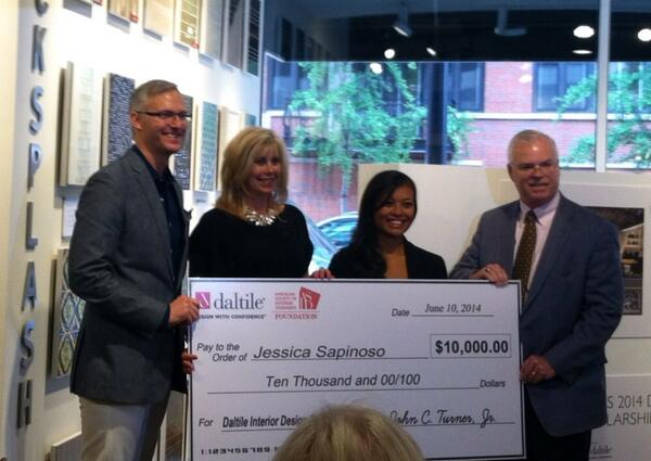 .@ASID 's CEO presented Interior Design Student Jessica Sapinoso with a $10,000 Scholarship from @Daltile #neocon14 http://t.co/QKlZv15E0a