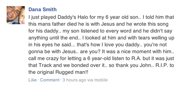 R A The Rugged Man On Twitter Daddys Halo Is My Song About Ping Of Dad This Beautiful Message From Fan Who Played It For His Son