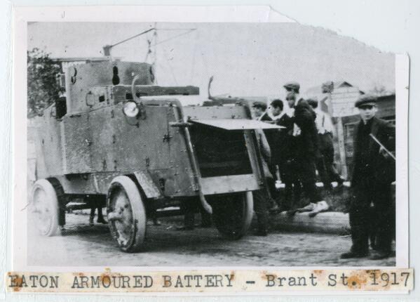 Eaton armored battery on Brant Street in #BurlON, 1917. #WW1archives #JosephBrantMuseum http://t.co/GqRuFbKLmv