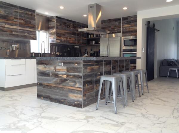 "#Stikwood reclaimed weathered wood on Ikea cabinets! #Ikeahacks #DIY  http://t.co/NpLmynEpOH"" ET"