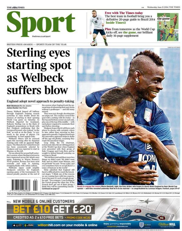 Raheem Sterling set to start for England v Italy as Danny Welbeck suffers injury setback [Backpages]
