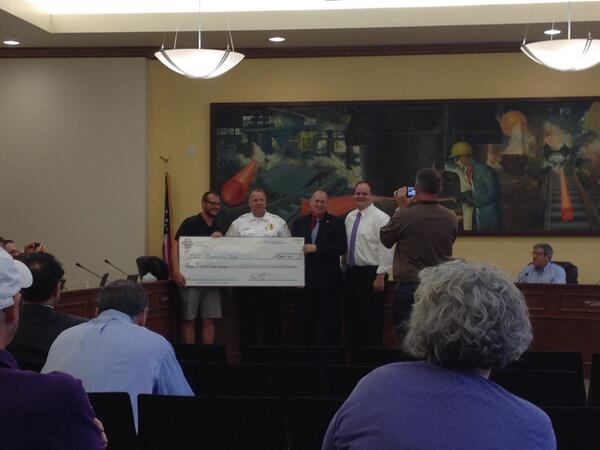 Here's the ceremonial presentation. Jaycees also presenting $2k to the 4th of July fireworks http://t.co/43A5S9Ok4M