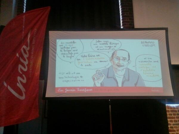 #JSinria #livesketching Bernard Stiegler on stage - la société automatique http://t.co/aRqZT1QARp