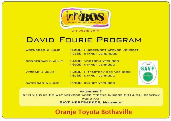 Hier is my @Innibosfees program! Ek skenk R10 van elke cd verkope aan die @savf2  Herfsakker Tak in Nelspruit! http://t.co/LlmIMdIAdP