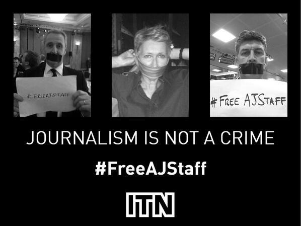 .@ITN backs calls for release of Al Jazeera journalists unjustly sentenced today: #journalismisnotacrime #FreeAJStaff http://t.co/88aZ0Fx69i