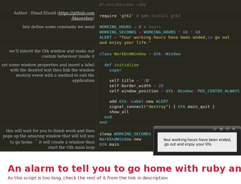 An alarm to tell you to go home with ruby and GTK - DZone