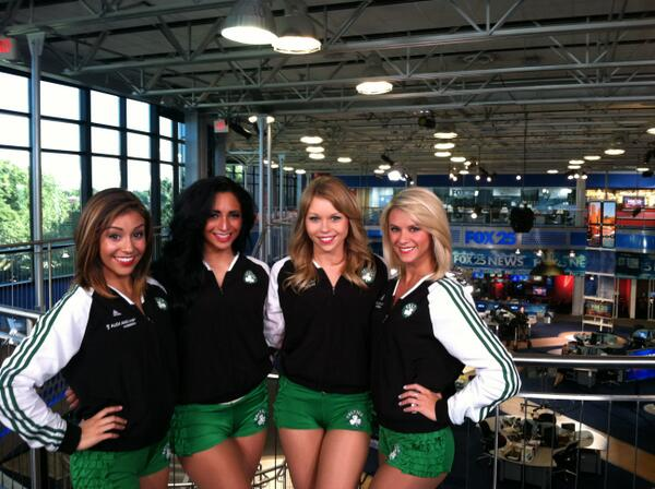The @CelticsDancers perform at 9:35am on Fox25 News to promote the Dancer auditions presented by Alex and Ani. http://t.co/SwlK4003aE