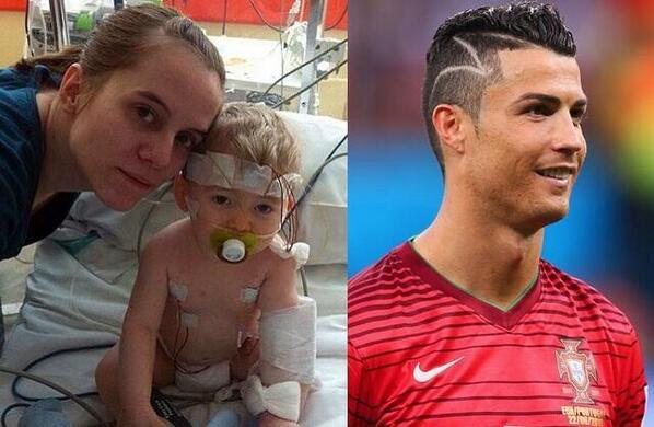 El corte de pelo de CR7 se lo hizo por una niña a la cual le pagó la operación de un tumor, el diseño era la cicatriz http://t.co/fbyZAkZQcl