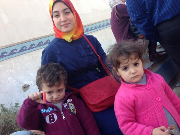 Baher Mohamed's pregnant wife with their 2 kids back in Feb at start of #ajtrial. Sad for them. http://t.co/jx0lH4No8K