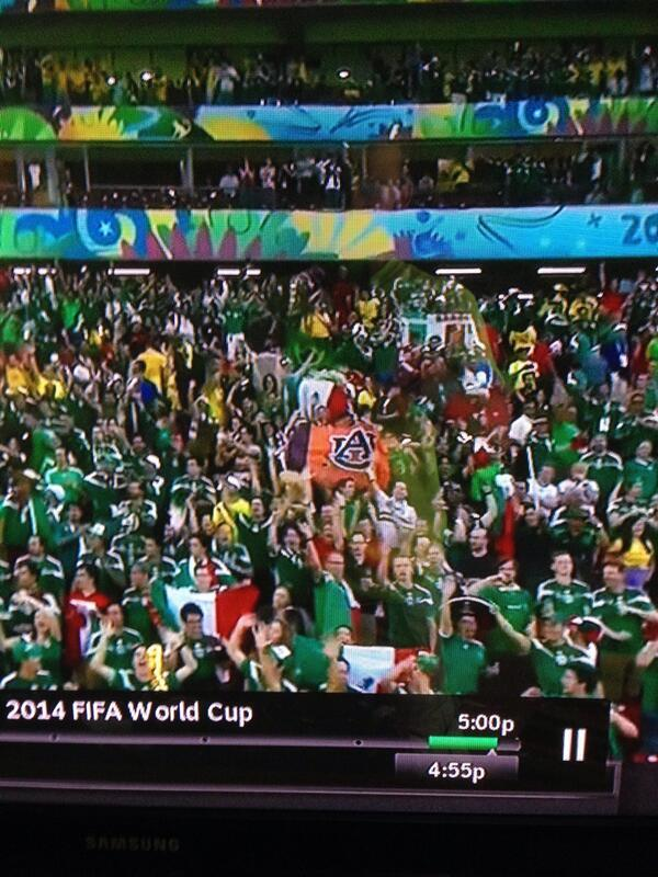 There was an Auburn flag in the crowd at the Mexico/Croatia World Cup game today. (pic via @rust_albright) #wareagle http://t.co/C9rktmZg4K