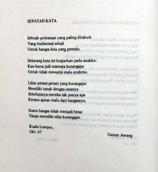Rmpm On Twitter Sepatah Kata Kurangajar Oleh Usman Awang 1967 Http T Co Nlgchdsnkl