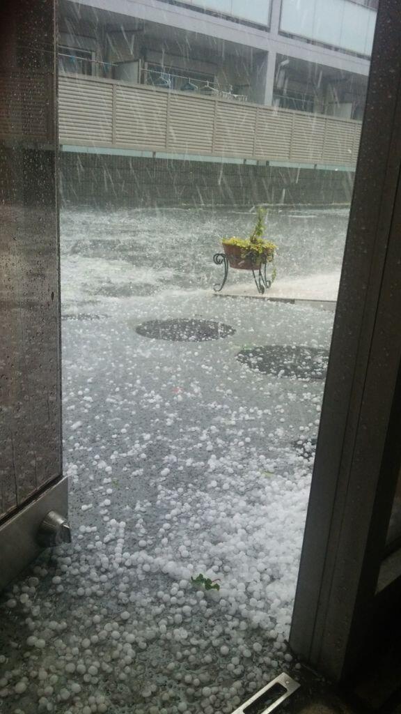 まさに嵐です雪、アラレ、雹氷が降っている異常気象( ̄□    !! pic.twitter.com/iWGprxjJUu