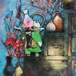 Image for the Tweet beginning: 【瀬戸大将】(seto-taisyou) 瀬戸物が変化した妖怪。三国志の関羽の姿をしている。