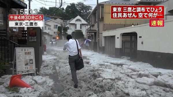 雹ぐらいで騒ぎすぎだろって思ってたら東京すごいことになってた #ウッヒョー pic.twitter.com/4BrhywDXyJ