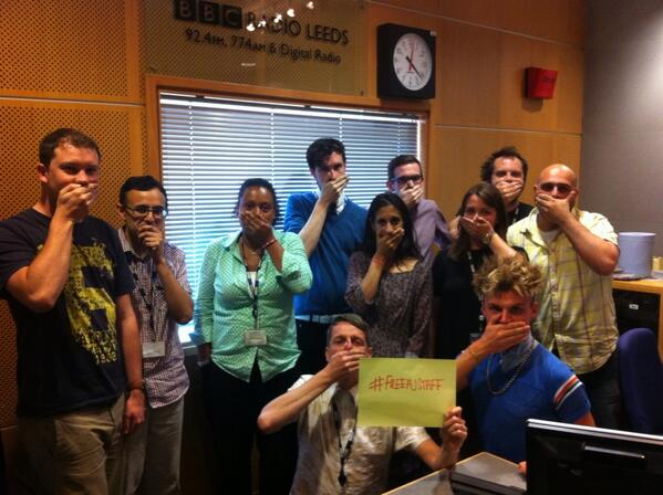 Workers @bbcleeds support #FreeAJstaff campaign #journalismisnotacrime #NUJ. http://t.co/hQ44hJgOBE