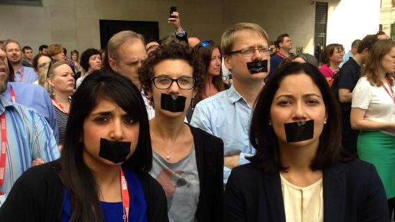 #journalismisnotacrime A minutes silence outside #BBC in protest of 3 journalists detained in #Egypt http://t.co/3y99Q80F9J
