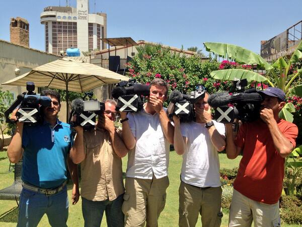 #FreeAJSfaff #Journalismisnotacrime BBC Baghdad Arabic and English camera crews. http://t.co/03rUtHkhMl