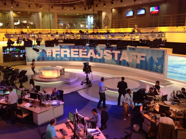 The Al Jazeera newsroom right now #freeajstaff http://t.co/OuEaAMJCd1