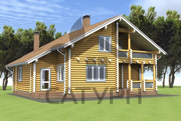 Дом из дерева с балконом и террасой, проект китеж.