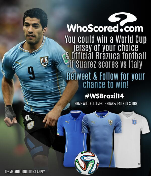 COMPETITION: RT if you think Luis Suarez will score against Italy for a chance to win! #WSBrazil14 http://t.co/HZwjCxAN2H