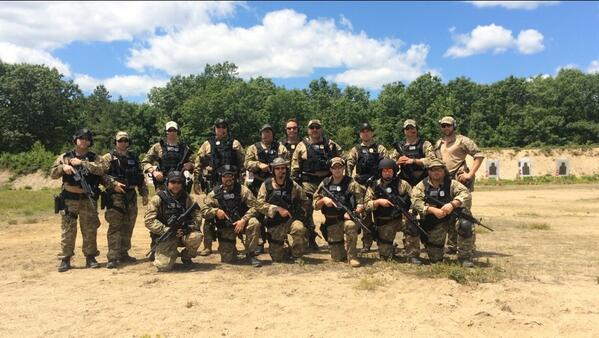 Brookline SRT poses before a police training exercise. They train 2x a month to be prepared for any situation. http://t.co/wax7auHmZ2
