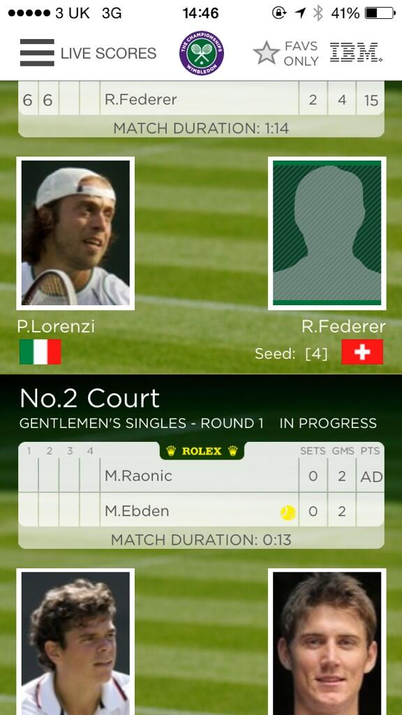 I'm sure it's not easy finding pictures of @rogerfederer for his bio on the @Wimbledon app haha http://t.co/7qSgX2A4fK