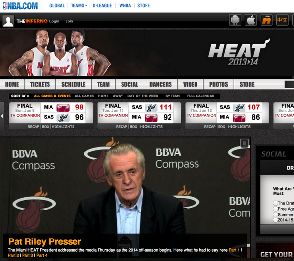 Heat now promoting the big 3 out front (allen, beasley