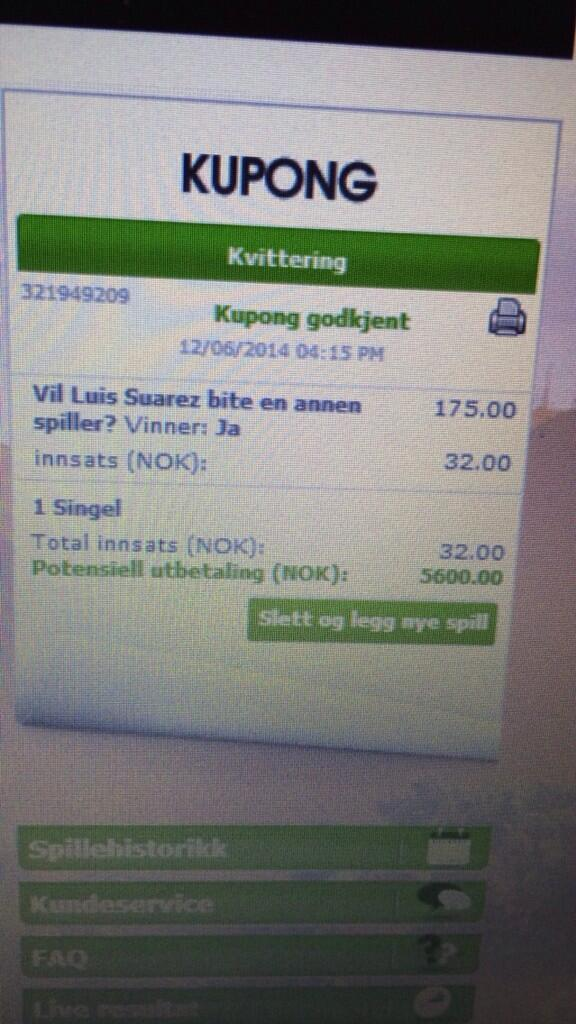 Haha. Genius! RT @arthurpguinness: Someone in Norway bet on #Suarez biting someone at the #worldcup  http://t.co/VlOsallmIq