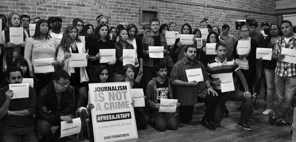Journalism is NOT a Crime: San Francisco Bureau supports #FreeAJStaff http://t.co/Uc4ZLCisDa