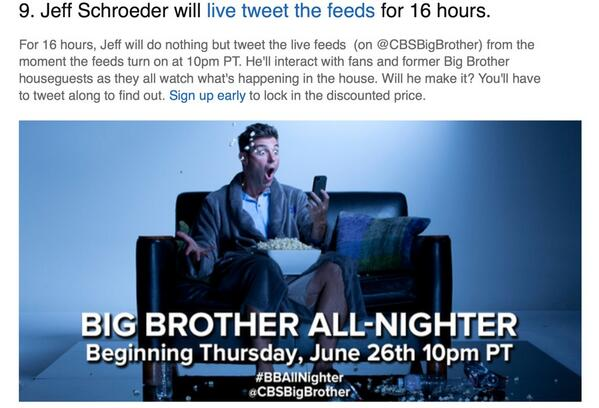 Stay up Thursday night with @jeffschroeder23 as he tweets for 16 hours about the #BB16 live feeds. http://t.co/Z73frMMN6k