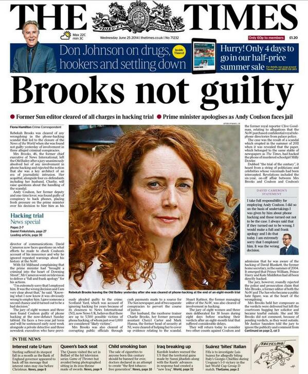 I expected The Sun to gloss over the Coulson verdict, but The Times? Damages their reputation as a paper of record. http://t.co/W7dHaHBI8r