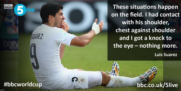 #URU's Luis Suarez gives his account of the alleged bite on #ITA's Giorgio Chiellini.   #bbcworldcup #WorldCup http://t.co/OWBAV52SbC
